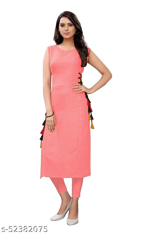 Women's Rayon Straight Stitched Pink Color Kurti