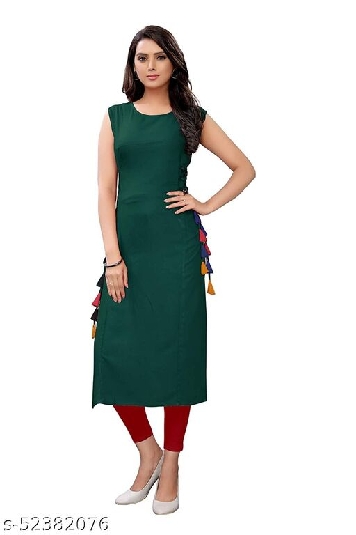 Women's Rayon Straight Stitched Green Color Kurti