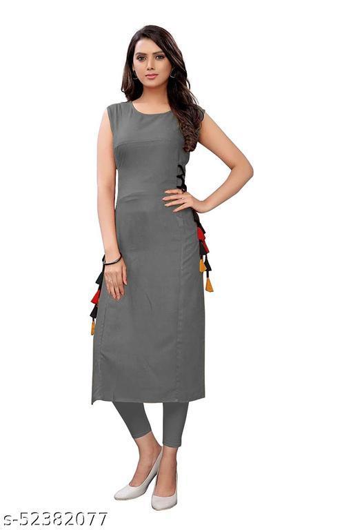 Women's Rayon Straight Stitched Grey Color Kurti