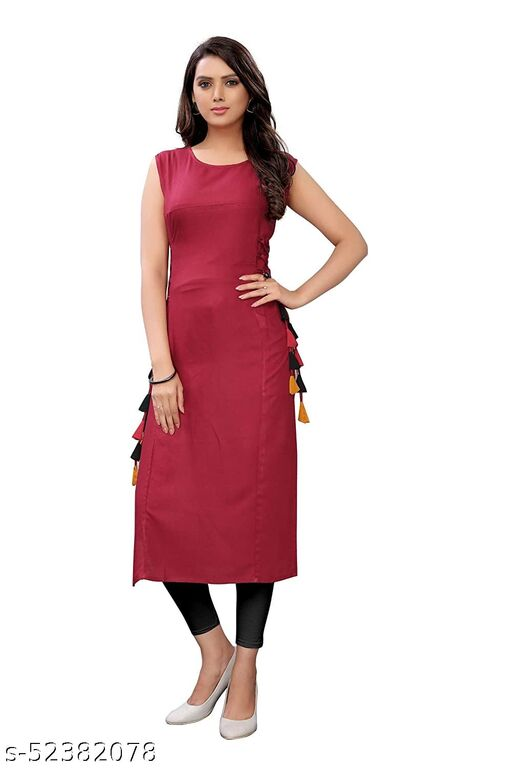 Women's Rayon Straight Stitched Maroon Color Kurti