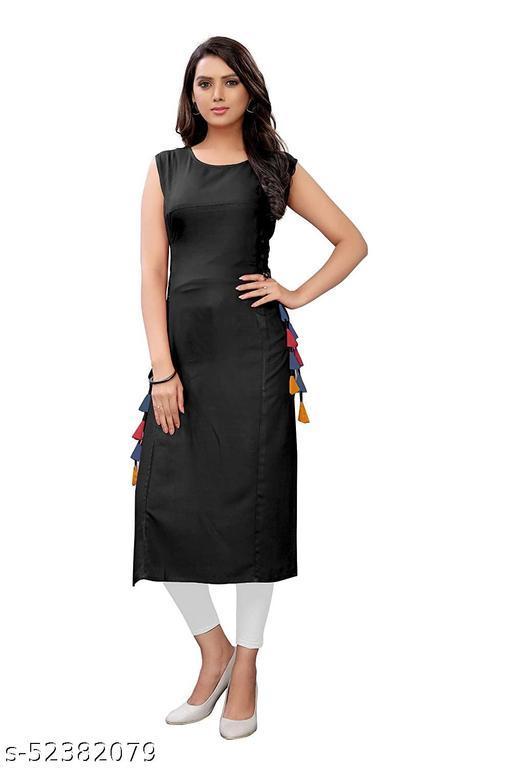 Women's Rayon Straight Stitched Black Color Kurti