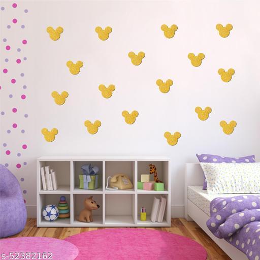 Sticker hub Cartoon face Golden glitter wooden cut sticker for baby room   Pack of 15
