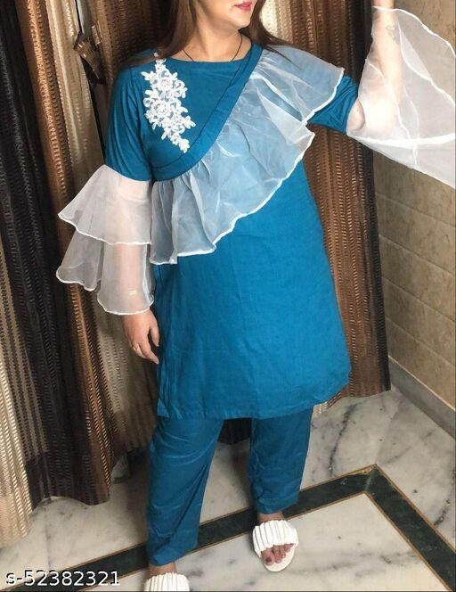 Casual Women Wear Cotton Linen Fabrci With Tissue Frills Dress