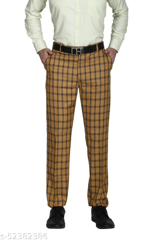 Touch Fitt Men's Regular Fit Formal Checked Trousers Available in 11 Size (Color-Mustard)