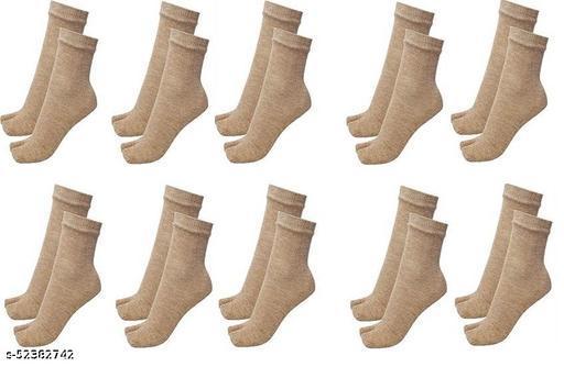 Women's Woollen Thumb Socks (Skin, Free Size) - Pack of 10