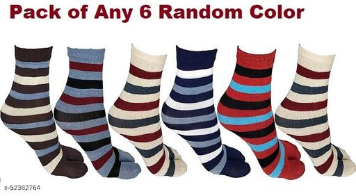 Trendy Stylish Ankle Length Multicolored Lining  Socks for Women (Pack of 6 Pairs)