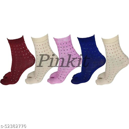 Women Ladies Cotton Ankle Length Socks with Thumb (Pack of 5 Pairs, Color)