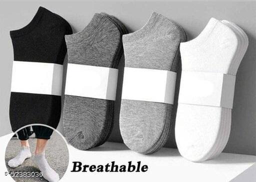 Men & Women Solid Ankle Length Socks (Multicolour, Free Size) Pack of 4