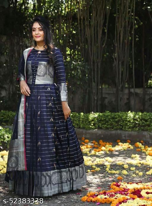 Blue Jaqurd Designer Gown