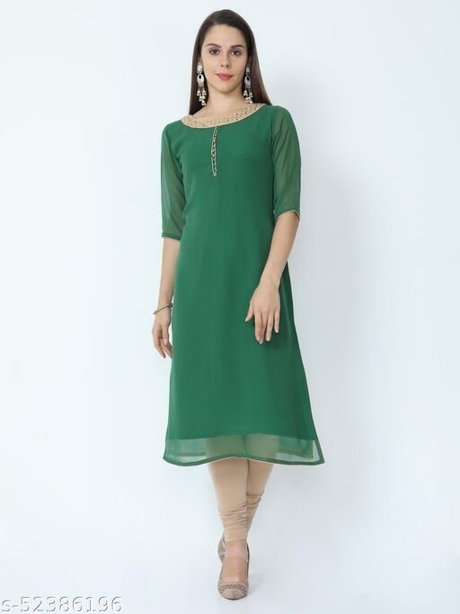 Zivanti Women's Georgette Embroidered Fabric Kurti - Green