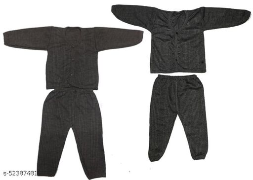 Kids Winter Wear Thermal Top and Bottom Set for Baby Boys and Girls Kids-Winter-Brown+Black(Set Of 2) May Vary Colour