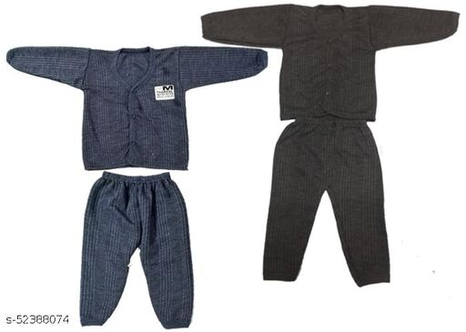 Kids Winter Wear Thermal Top and Bottom Set for Baby Boys and Girls Kids-Winter-Navy+Brown(Set Of 2) May Vary Colour