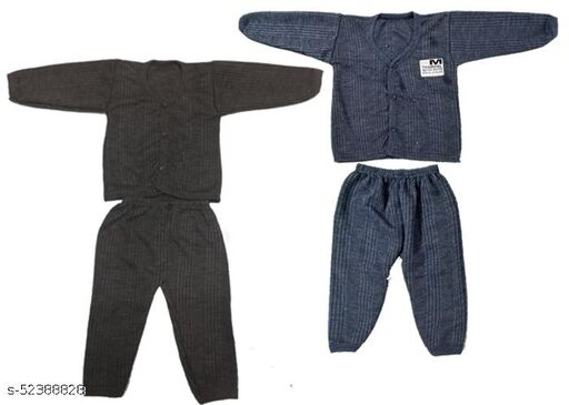 Kids Winter Wear Thermal Top and Bottom Set for Baby Boys and Girls Kids-Winter-Brown+Navy(Set Of 2) May Vary Colour