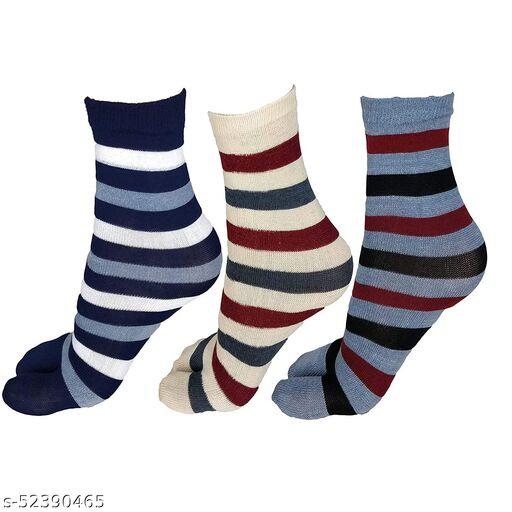 Women Cotton Multi Color Stripes Thumb Socks Pack of 3 Pairs
