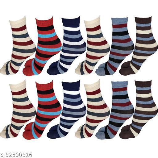 Women Cotton Multi Color Stripes Thumb Socks Pack of 12 Pairs