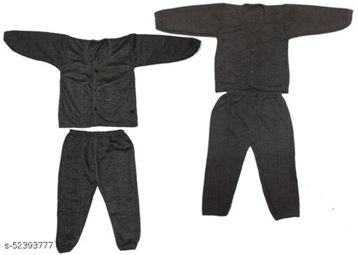 Kids Winter Wear Thermal Top and Bottom Set for Baby Boys and Girls Kids-Winter-Black+Brown(Set Of 2) May Vary Colour