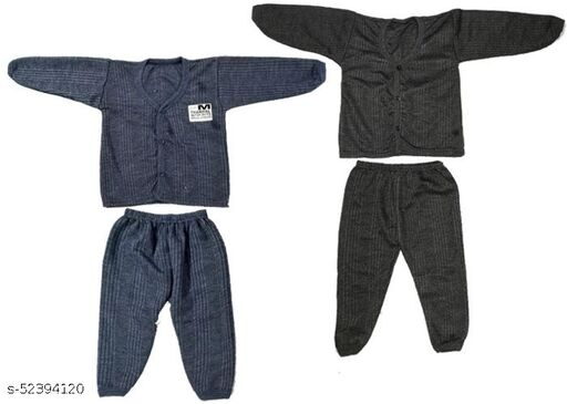 Kids Winter Wear Thermal Top and Bottom Set for Baby Boys and Girls Kids-Winter-Navy+Black(Set Of 2) May Vary Colour