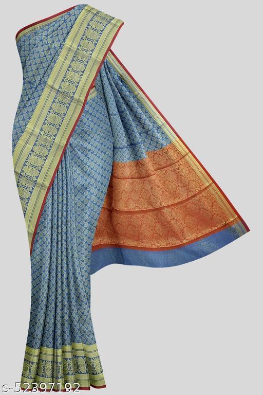 Kalamandir Dark Blue Poly Silk Saree with Blouse piece