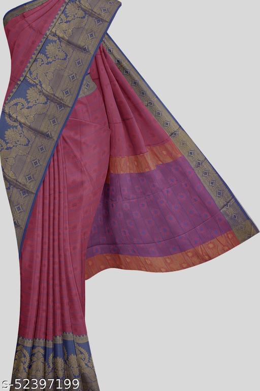 Kalamandir Pink Florals Poly Silk Saree with Blouse piece