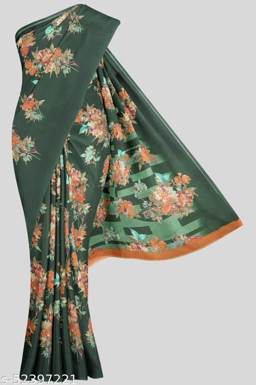 Kalamandir Dark Green Florals Georgette Saree with Blouse piece