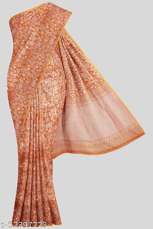 Kalamandir Orange Designer Poly Silk Saree with Blouse piece