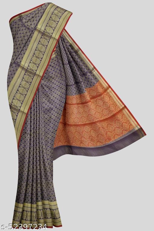 Kalamandir Violet Poly Silk Saree with Blouse piece