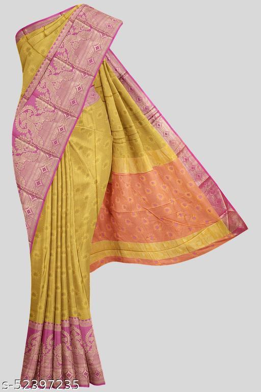 Kalamandir Mustard Florals Poly Silk Saree with Blouse piece