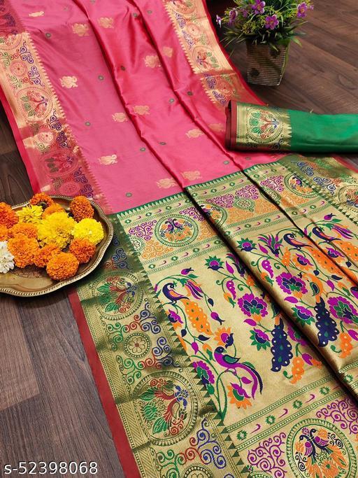 Latest New Arrival Soft Pethani Silk Saree New Coral Color Saree New Arrival Pethani Top Selling Saree Under 1000
