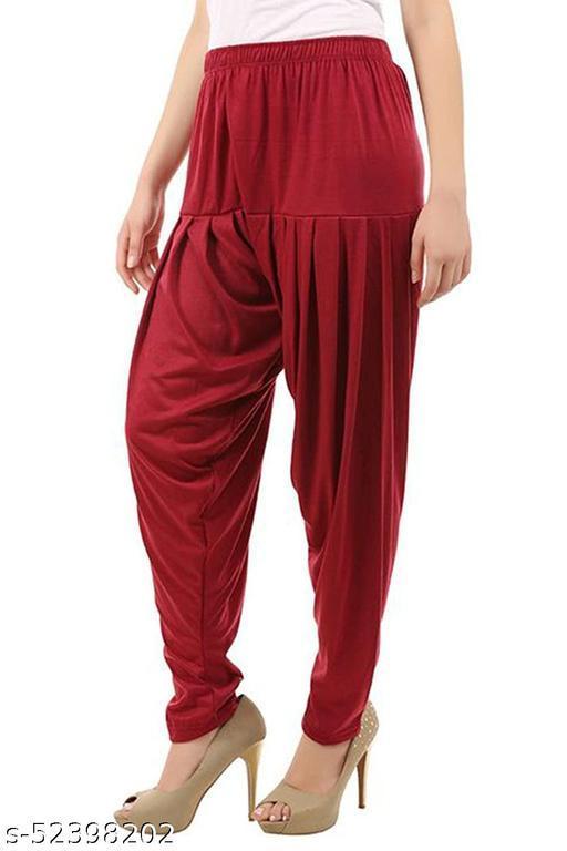 Your Little Fashion Women's Cotton Viscose Lycra Dhoti Patiyala Salwar Harem Bottoms Pants Maroon