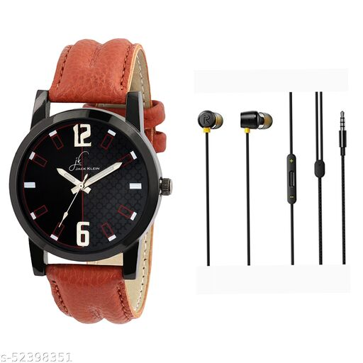 JK-3066 Stylish analogue watch & Realme Buds2 Wired Quality Bass Earphone with MIC with combo pack