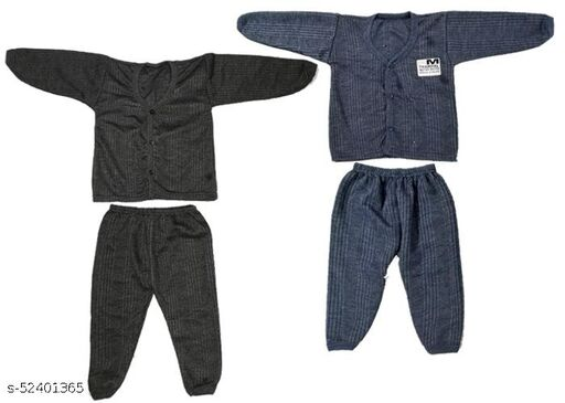 Kids Winter Wear Thermal Top and Bottom Set for Baby Boys and Girls Kids-Winter-Black+Navy(Set Of 2) May Vary Colour