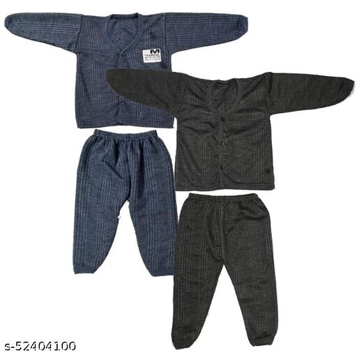 Kids Winter Wear Thermal Top and Bottom Set for Baby Boys and Girls May Vary Colour (Set Of 2)