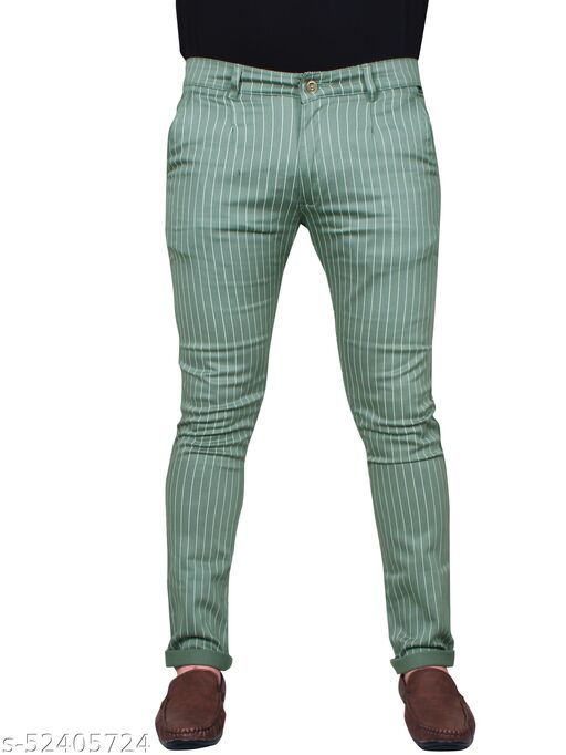 J.L.U  Cotton Green Casual Trousesr for Men