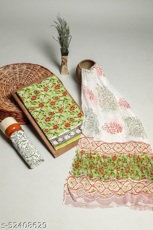Green And Red 3 Pcs. Suit Set In Cotton Fabric With Chiffon Dupatta