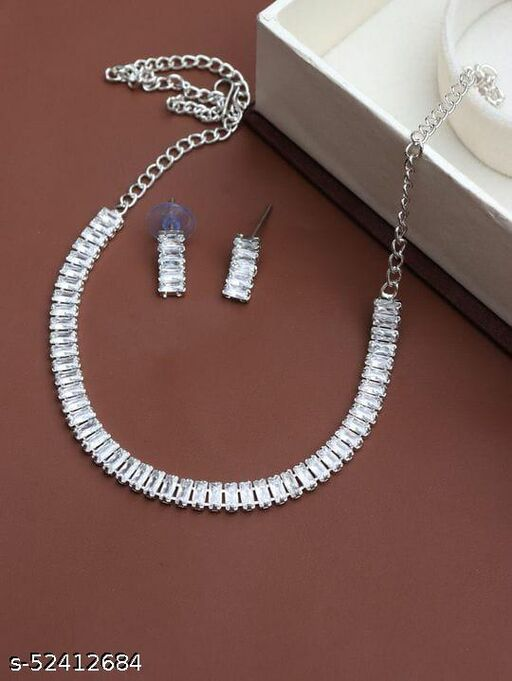 Silver Solitaire American Diamond jewellery Sets For Women and Girls