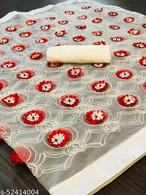 RDS Designer Net Saree with Chain Stitch Work And Flower Crops (White)