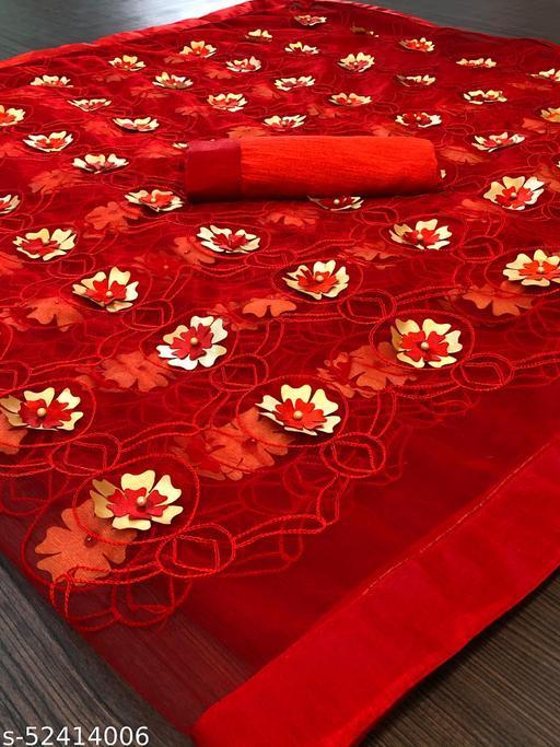 RDS Designer Net Saree with Chain Stitch Work And Flower Crops (Red)