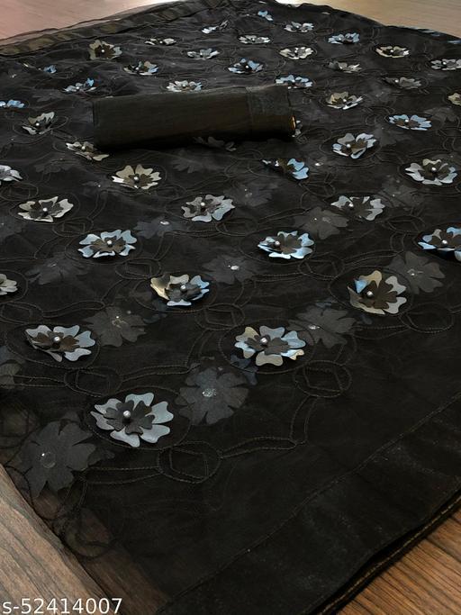 RDS Designer Net Saree with Chain Stitch Work And Flower Crops (Black)