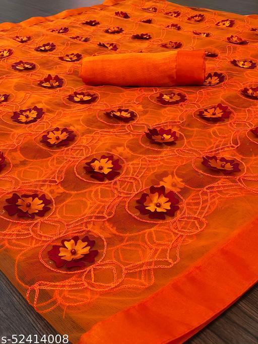 RDS Designer Net Saree with Chain Stitch Work And Flower Crops (Orange)