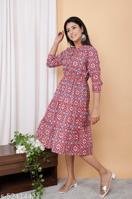 Trendy Multicolour Cotton Printed Tire Pattern Dress With Elastic on Wiast Line