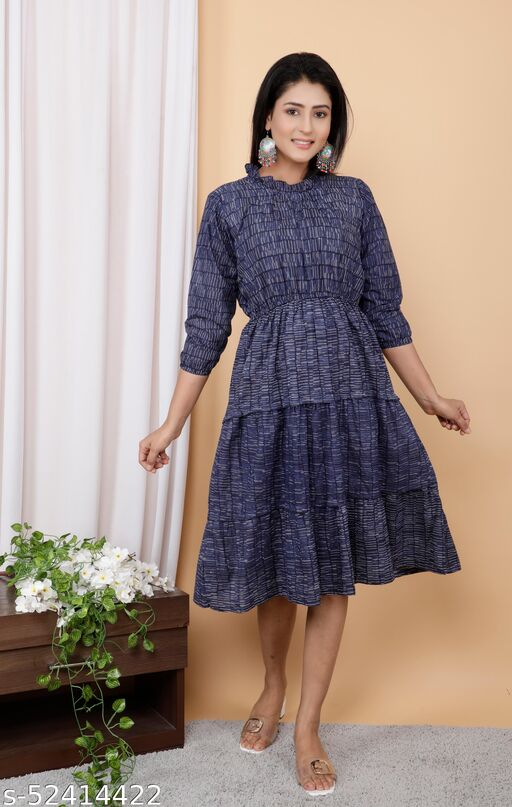 Blue Cotton Printed Tire Pattern Dress With Elastic on Wiast Line
