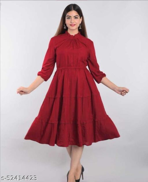 Hot Selling Red Rayon Tire Pattern Dress With Elastic on Wiast Line