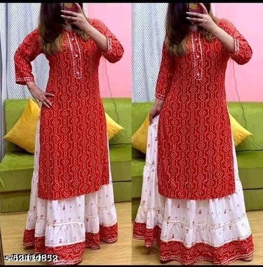 Bandhej Print Kurta With Skirt