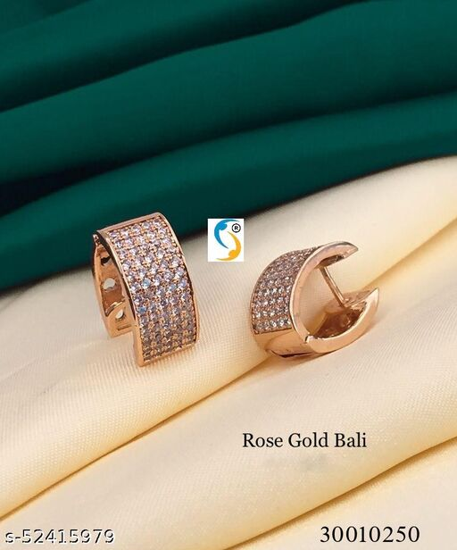 ROSE GOLD TONE PLATED FULLY AD DIAMOND BALI EARRING