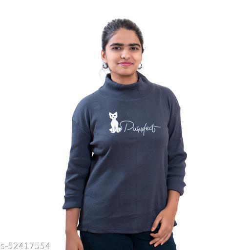 Womens sweatshirt -fullhand tshirt - high neck / turtutle neck
