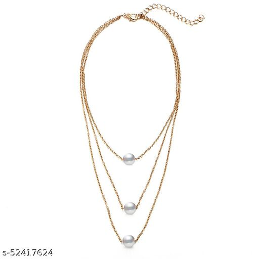 Fashion Story Fancy multi leyered Gold Necklace for women Regular use, Wedding, Golden Chain for Girls with white pearls stone Gold Plated Alloy Necklace Chains Necklace for Women and girls stylish