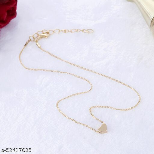 Fashion Story Fancy Gold Necklace for women Regular use, Wedding, Golden Chain for Girls with Gold Plated heart shape Alloy Necklace Chains Necklace for Women and girls stylish