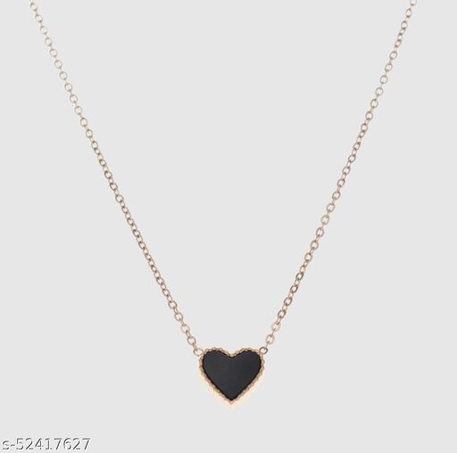 Fashion Story Stylish Necklace Chain for Women for Wedding Party and Regular use with heart shape Black stone Golden Chain with Gold Plated Alloy Necklace Chains and Necklace for women and girls