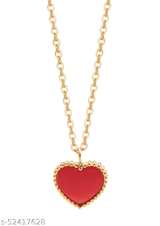 Fashion Story Latest Necklace Chain for Women for Wedding Party and Regular use with heart shape red stone Golden Chain with Gold Plated Alloy Necklace Chains and Necklace for women
