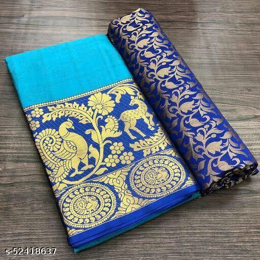 Lady Bazaar Hiran Mor Cotton Silk Jacard Saree